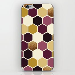 Hexagon Wine and Gold Palette iPhone Skin