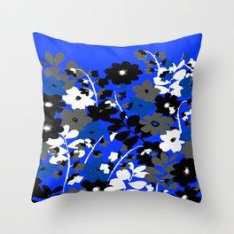 SUNFLOWER TRELLIS BLUE BLACK GRAY AND WHITE TOILE Throw Pillow