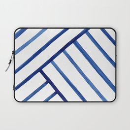 Watercolor lines pattern | Navy blue Laptop Sleeve