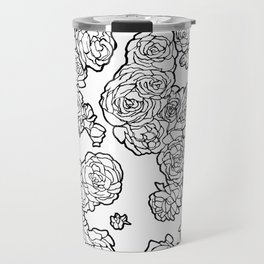 Peonies and Roses, Ink artwork Travel Mug
