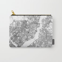 Istanbul White Map Carry-All Pouch