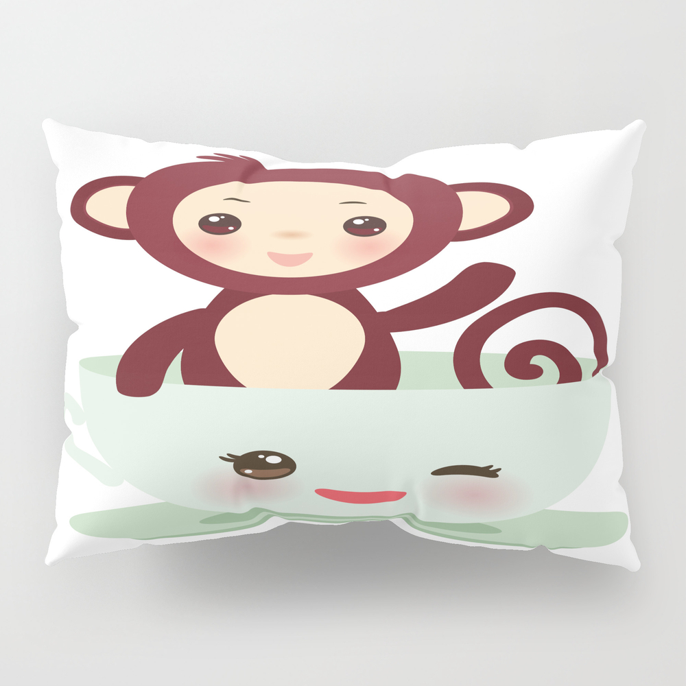 Cute Kawai Pink Cup With Brown Monkey Pillow Sham by Ekaterinap PSH8754478