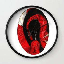Oval Rose Poppy  Wall Clock
