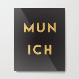MUNICH GERMANY GOLD CITY TYPOGRAPHY Metal Print