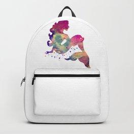 Mermaid Art Colorful Watercolor Purple Artwork Mermaid Sitting Fantasy Art Backpack