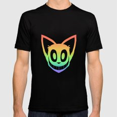 Rainbow Cat Head (black outline) Black SMALL Mens Fitted Tee