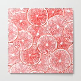 Watercolor grapefruit slices pattern Metal Print