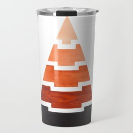 Burnt Sienna Aztec Pyramid Triangle Egypt Minimalist Mid Century Modern Watercolor Geometric Pattern Travel Mug
