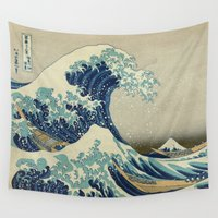 brasil Wall Tapestries featuring The Great Wave off Kanagawa by Palazzo Art Gallery