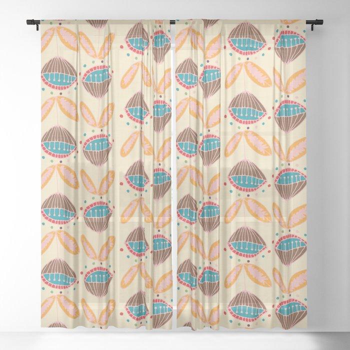 Mid Century Beige Floral Pattern Sheer Curtain