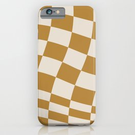 checked wave –gold and tan iPhone Case