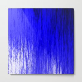 Bright texture of shiny foil of blue flowing waves on a dark fabric. Metal Print