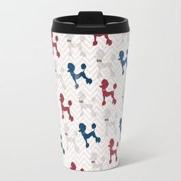 Modern red navy blue gray poodle pastel brown chevron Travel Mug