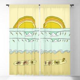 single fin simple life // longboard retro surf art by surfy birdy Blackout Curtain