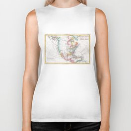 Vintage Map of North America (1780) Biker Tank