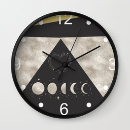 Silver Moon Phases Abstract Geometric Art Wall Clock
