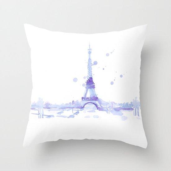 Watercolor landscape illustration_Eiffel Tower Throw Pillow