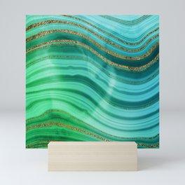 Ocean Blue And Green Mermaid Glamour Marble Mini Art Print
