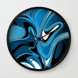 Liquify in Denim, Navy Blue, Black, White Wall Clock