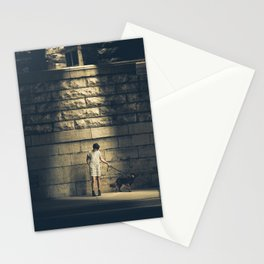 Evening walk with a dog Stationery Cards