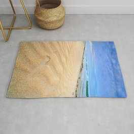 """Levante wind "" Magic Tarifa beach at sunrise Rug"