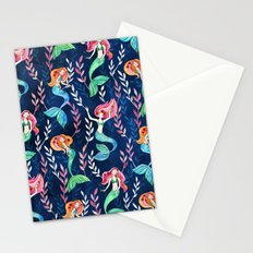 Merry Mermaids in Watercolor Stationery Cards