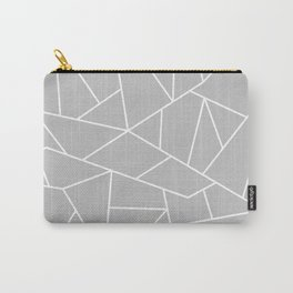 White Mosaic Lines On Silver Gray Carry-All Pouch