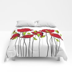 Whimsical Red Poppies Comforters