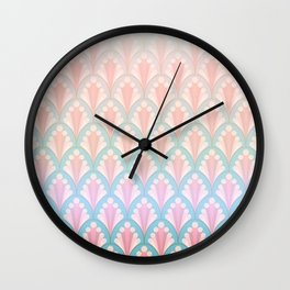Lightened Scolloped Shell Repeat with Blue Wall Clock