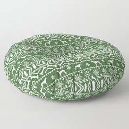 Greyhound fair isle christmas holidays pattern green and white dog gifts Floor Pillow