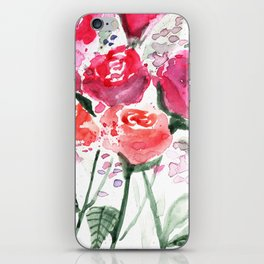 Abstract Watercolor Red Roses iPhone Skin