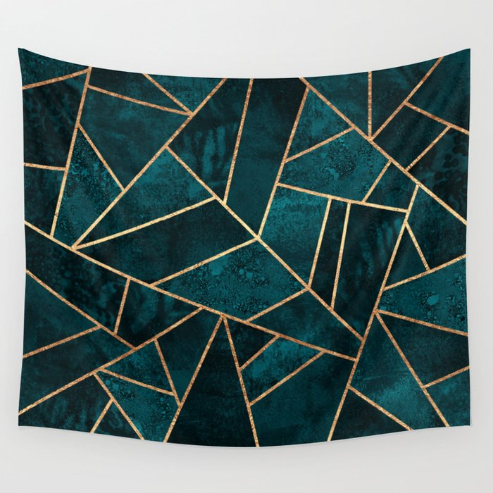 Deep Teal Stone Wall Tapestry