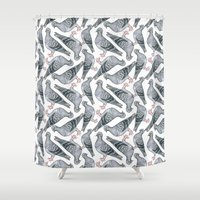 pigeon Shower Curtains featuring Pigeon friends by Beth Austin Illustration