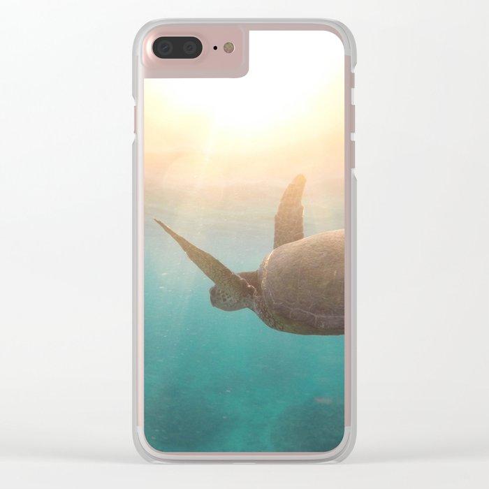 Turtle enjoying life Clear iPhone Case