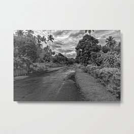 Indonesian Country Road - North Sulawesi, B&W Metal Print