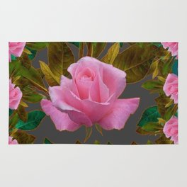 LEAFY PINK ROSE GARDEN & GREY PATTERNS ART Rug