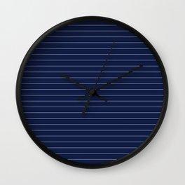 Navy Blue Pinstripes Lines Minimal Wall Clock