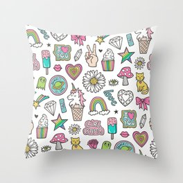 Patches Stickers 90's Doodle Unicorn Ice Cream, Rainbow, Hearts, Stars, Gemstones,Flowers White Throw Pillow