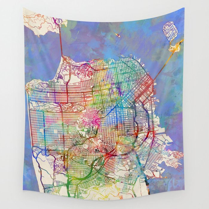 San Francisco City Street Map Wall Tapestry by artpause