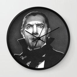 Dracula fan art inspired by Bela Lugosi, based on my original hand-drawn graphite illustration Wall Clock