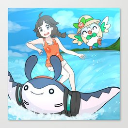 Surfing with Mantine Canvas Print