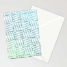Woven Squares in Blue and Green Stationery Cards
