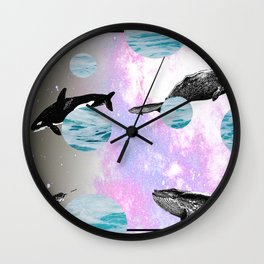 whales in space Wall Clock