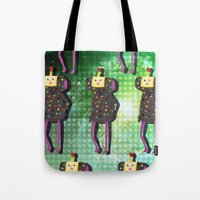 katamari Tote Bags featuring Katamari Cousins - Dipp by cakeisforrobots
