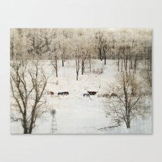 Horses in the Winter Canvas Print