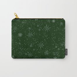 Snowflakes on green background Carry-All Pouch