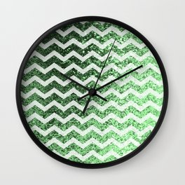 Glitter Sparkly Bling Chevron Pattern (green) Wall Clock