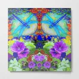 """BLUE """"ZINGER"""" DRAGONFLIES  & PURPLE FLOWERS ART Metal Print"""