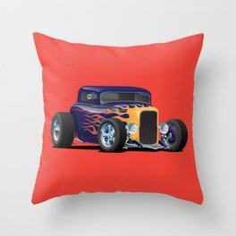 Vintage Hot Rod Car with Classic Flames Throw Pillow