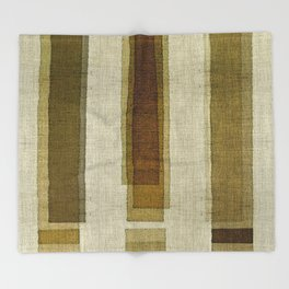 """Burlap Texture Greenery Columns"" Throw Blanket"